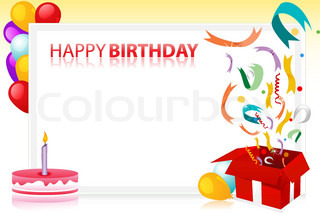 vector illustration of birthday with balloons and cake and sample text at the back