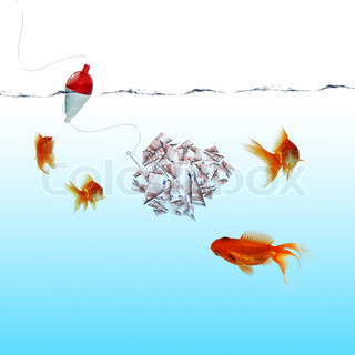 Swimming gold fish and money symbols stock photo for Fish for cash
