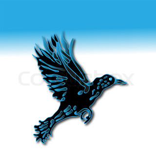 Silhouette of crow in dark-blue tones against blue background