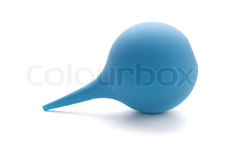 Blue rubber pear (enema). Isolated on white