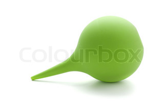 Green rubber pear (enema). Isolated on white