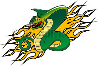Green danger snake in cartoon style as a warning concept