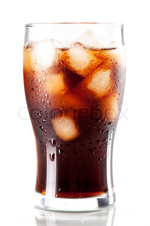 Fresh Cold Cola with ice in glass isolated on white background