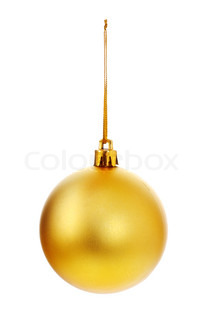 yellow christmas ball isolated on white background