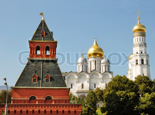 Moscow Kremlin Tower, Cathedral of the Archangel and Ivan the Great Bell Tower
