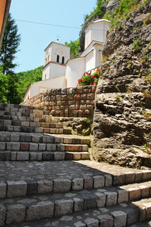 old orthodox Gornjak Monstery in Serbia, stone stairs and church exterior