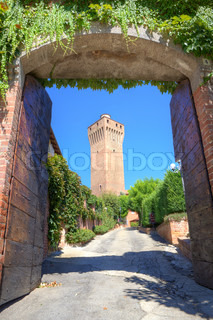 Vertical oriented image of ancient tower as seen through old wooden gates in Santa Vittoria D'Alba, northern Italy