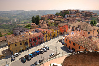 Aerial view on roofs and street of Diano D'Alba - small town in Piedmont, northern Italy
