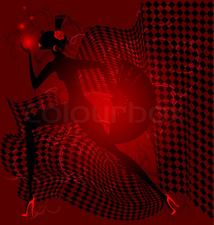 in the red light is an abstract black silhouette dancing women