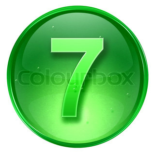 number seven icon green, isolated on white background