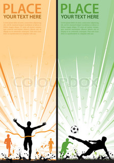 Collect grunge sport flyer with Soccer Player and Winner Man, element for design, vector illustration