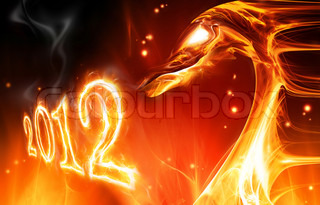 abstract fire dragon symbol of 2012 on a dark background
