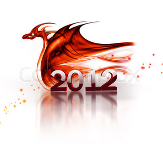 abstract fire dragon on a white background as a symbol of 2012