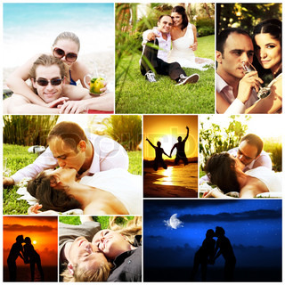 Love concept collage with various images of happy young couples