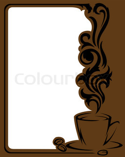 Vertical frame with a stylizeda cup of coffee and coffee beans