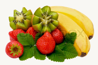 Bananas, kiwi and strawberry isolated on a white background