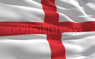 Fluttering flag of England on the wind