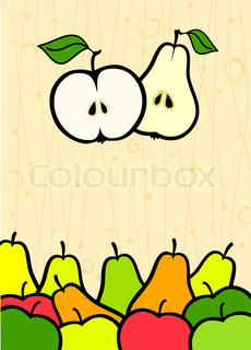 abstract background with apple and pear fruit vector illustration