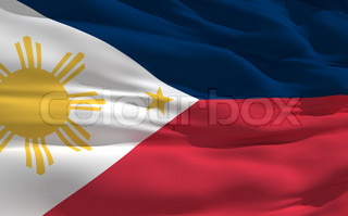 Fluttering flag of Philippines on the wind