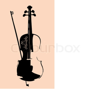 Beautiful Violin on beige background