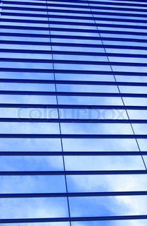 Glass wall of business center, may be used as background