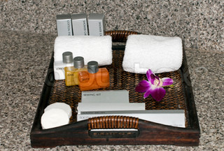 hotel bath and lotion kit with orchid
