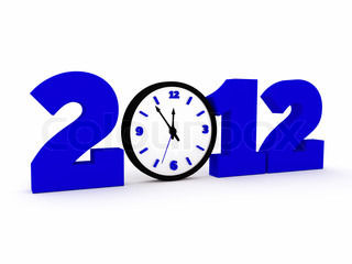 a time concept with clock, 2012 new year