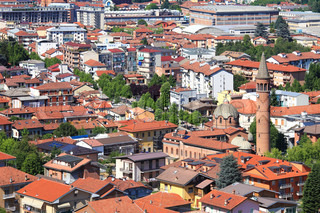 Aerial view on buildings and houses of Alba - town in Piedmont, northern Italy