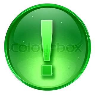 Exclamation symbol icon green, isolated on white background