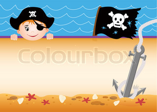 Cute pirate boy greeting card with copy space