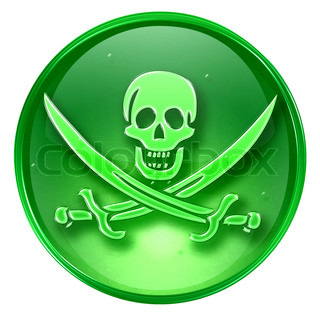 Pirate icon green, isolated on white background