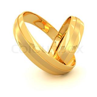 Zwei goldene Hochzeit Ringe isoliert auf weißem Hintergrund