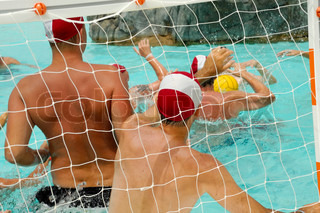 People are playing water polo