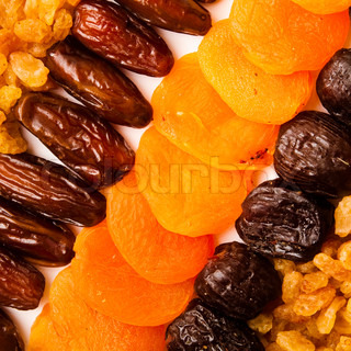 dried apricots, raisins and