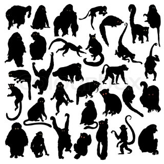 Collection of silhouettes of monkeys
