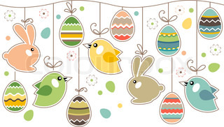 Seamless easter border with eggs and rabbits