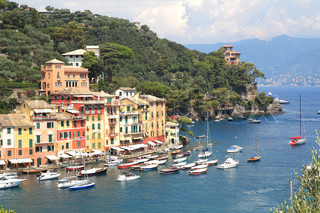 Aerial view on Portofino - small town on Ligurian sea in northern Italy