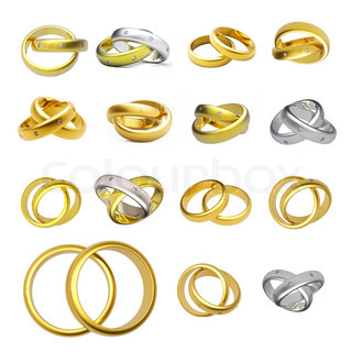 Collection of gold wedding ringsisolated on white background