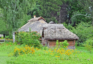 Ancient hut and barn with a straw roof