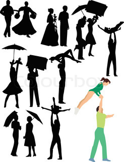 People dances dancing girls and guys a vector it is isolated on a white background