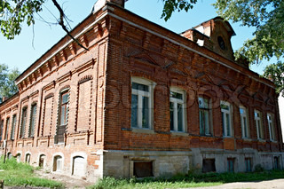 old brick house in russian province