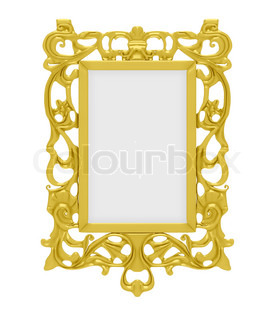 Isolated decorative golden frame over white background