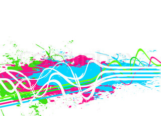 An abstract background with wavy lines and paint splatter