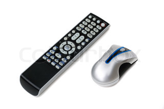 A television remote control and a wireless computer mouse both isolated on white