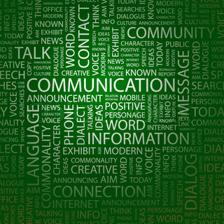 COMMUNICATION. Word cloud illustration. Tag cloud concept collage. Vector text illustration.