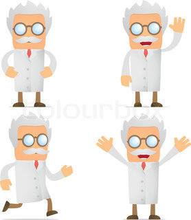set of funny cartoon scientist in various poses for use in presentations, etc