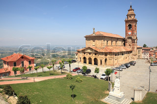 View on old church situated in Diano D'Alba - small town in Piedmont, northern Italy