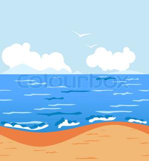 Stylized tropical sunny beach Seamless horizontal background
