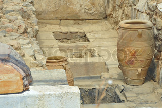 Antique clay jars and storage pits at Knossos, Crete Island, Greece