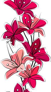 Problemfri lodrette kant med røde liljer på hvid